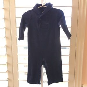 Janie and Jack Velour Navy Outfit